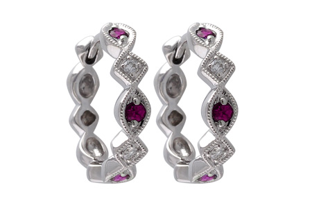 F001-09728: EARRINGS .20 RUBY .25 TGW